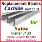 Set of 3 Carbide Blades for Yates  Planer, J180