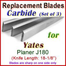 Set of 3 Carbide Blades for Yates  Planer, J180