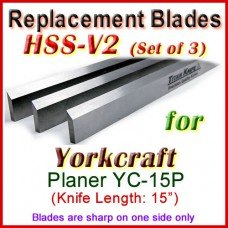 Set of 3 HSS Blades for Yorkcraft 15'' Planer, YC-15P