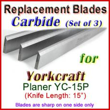 Set of 3 Carbide Blades for Yorkcraft  Planer, YC-15P