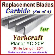 Set of 4 Carbide Blades for Yorkcraft  Planer, YC-20P