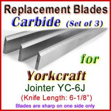 Set of 3 Carbide Blades for Yorkcraft  Jointer, YC-6J