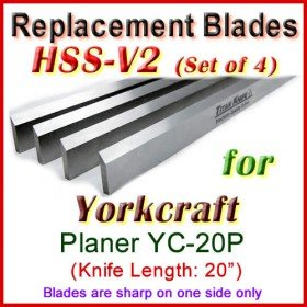 Set of 4 HSS Blades for Yorkcraft 20'' Planer, YC-20P