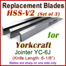 Set of 3 HSS Blades for Yorkcraft 6'' Jointer, YC-6J