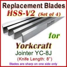 Set of 4 HSS Blades for Yorkcraft 8'' Jointer, YC-8J